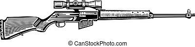 Hunting rifle optical sight isolated on white background
