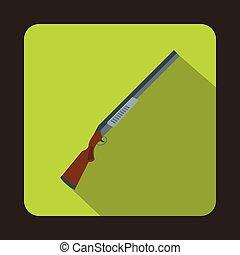 Hunting rifle shotgun icon, flat style