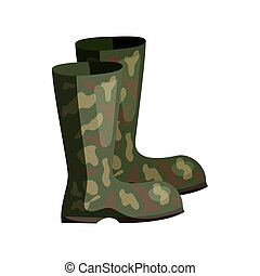 Hunting rubber boots icon, cartoon style