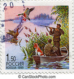 hunting - RUSSIA - CIRCA 1999: stamp printed by Russia, ...