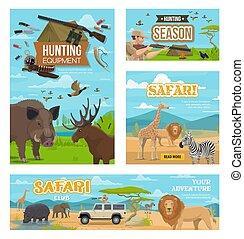 Hunting season, african safari hunt animals