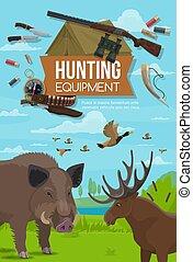 Hunting season animals, hunter ammo equipment