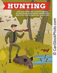 Hunting season animals, hunter trophy wild boar