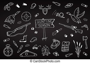 Hunting season collection in doodle style.Hand drawn