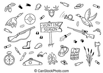 Hunting season collection in doodle style.
