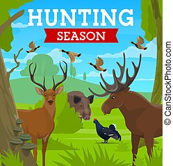 Hunting season, hunt for animals in wild forest