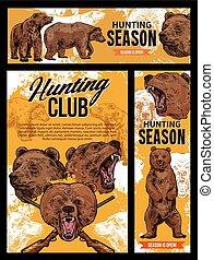 Hunting season, wild bear animal
