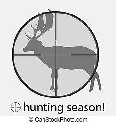 hunting season with deer in gunsigh