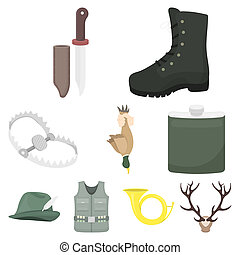 Hunting set icons in cartoon style. Big collection of...