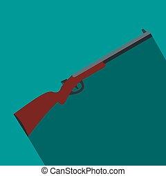 Hunting shotgun flat icon on a blue background