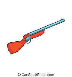 Hunting shotgun icon, cartoon style - icon in cartoon style...
