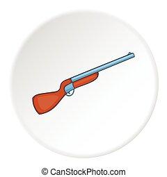 Hunting shotgun icon, cartoon style