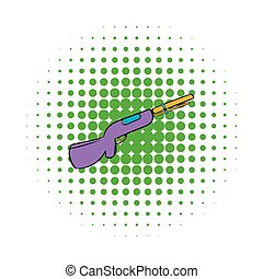 Hunting shotgun icon, comics style - Hunting shotgun icon in...