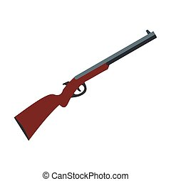Hunting shotgun icon in flat style isolated on white...