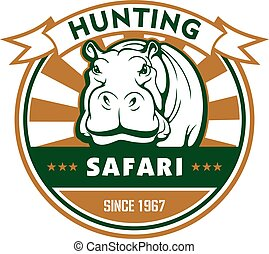 Hunting sport and african safari round badge