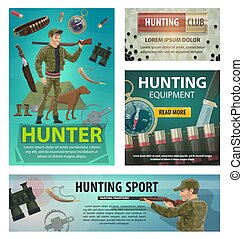 Hunting sport cards of hunter, rifle and equipment - Hunting...