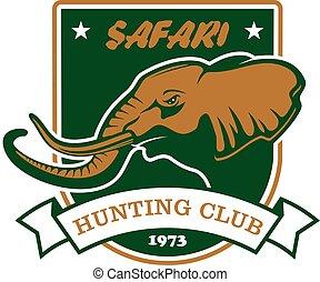 Hunting sport club symbol. Safari hunt shield sign