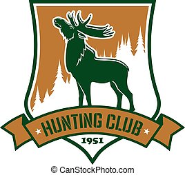 Hunting sport club vector badge or emblem