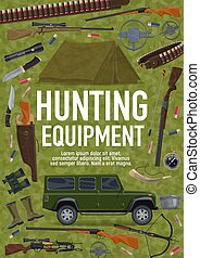 Hunting sport equipment poster with weapon and car