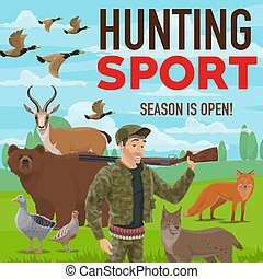 Hunting sport. Forest wildlife animals and birds