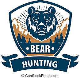 Hunting sport or hunter club, bear vector icon