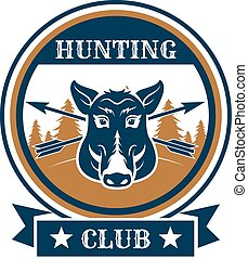 Hunting sport or hunter club, boar vector icon