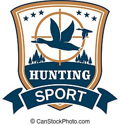 Hunting sport or hunter club vector icon