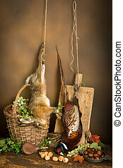 Hunting still life with hare