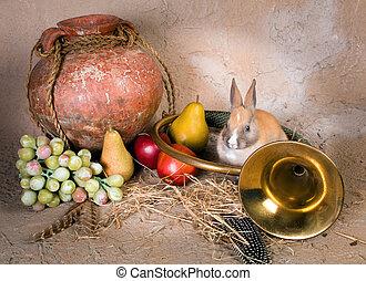 Hunting still life with rabbit