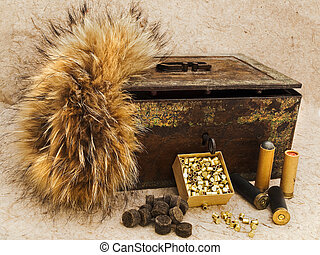 Hunting - Photo of old cartridge for hunting rifle and...