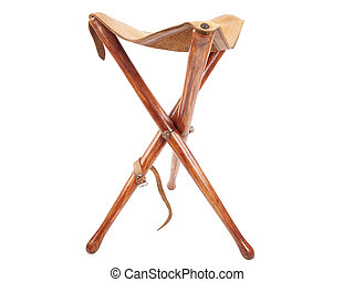 Hunting stool - wooden hunting stool isolated on white...