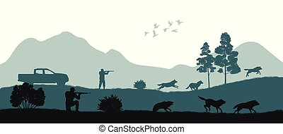 Hunting the wolves. Black silhouette of hunters