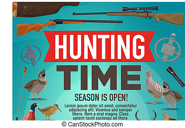 Hunting time and hunt open season animals poster - Hunt open...