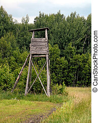 Hunting tower in Polish forest.