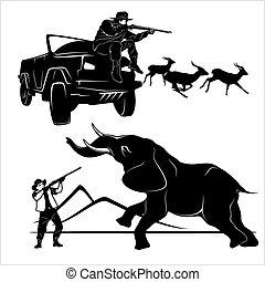 Hunting trophy elephant - African safari monochrome illustration