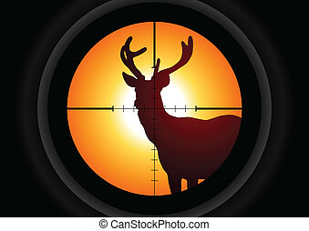 Hunting - Vector illustration of a rifle lens aiming a deer