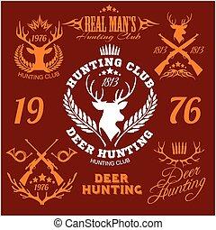 hunting., venado, logotipo, conjunto, elements., etiquetas, ...