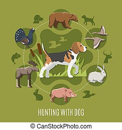 Hunting With Dog Concept - Hunting with dog concept with...