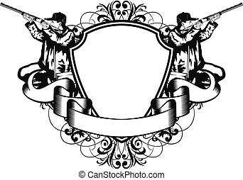 huntings frame - Vector illustration huntings frame with...