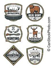 huntings, jogo, ícones