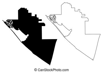 Huntington Beach City (United States cities, United States of America, usa city) map vector illustration, scribble sketch Huntington Beach map