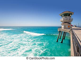 Huntington beach main lifeguard tower Surf City California...