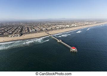Huntington Beach Pier Southern California Aerial