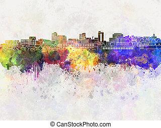 Huntington skyline in watercolor