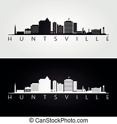 Huntsville, Alabama skyline and landmarks silhouette, black and white design, vector illustration.
