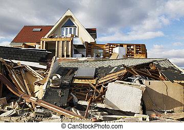 huracán, arenoso, destrucción