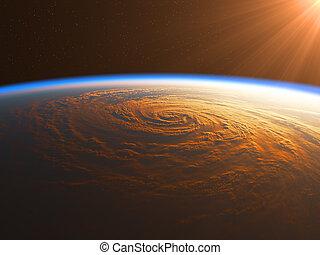 huracán, en, el, rayos del sol