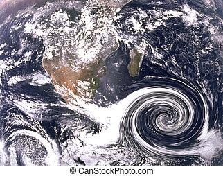 huracán, nubes, en, océano