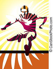 Vector illustration of a young athletic man jumping a hurdle.