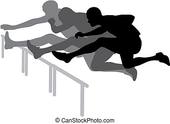 Abstract vector illustration of hurdle race